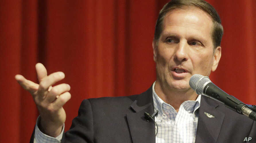 Republican U.S. Rep. Chris Stewart speaks during his town hall meeting, March 31, 2017, in Salt Lake City. Stewart says he knows that many of those attending his town hall in heavily Democratic Salt Lake City probably didn't vote for him, but the Rep