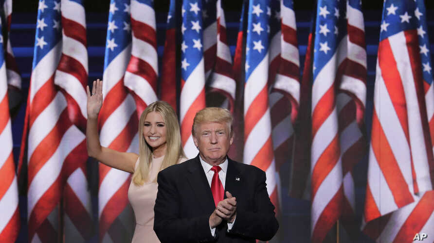 Ivanka Trump, daughter of Republican presidential nominee Donald J. Trump, waves as she walks off stage after introduction her father during the final day of the Republican National Convention in Cleveland, July 21, 2016.