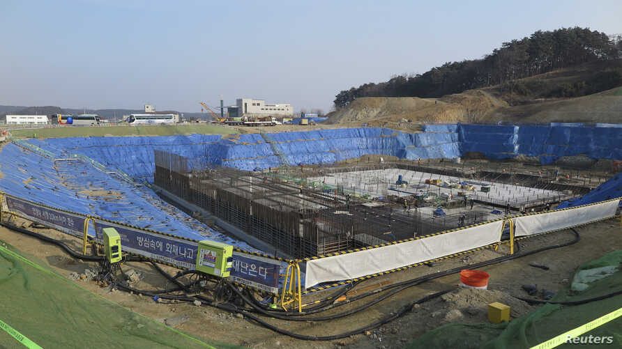 A general view of the construction site of Gangneung Ice Arena which will be a venue for the figure skating and short track competitions during the 2018 Winter Olympic Games, in the coastal cluster of PyeongChang, February 11, 2015.