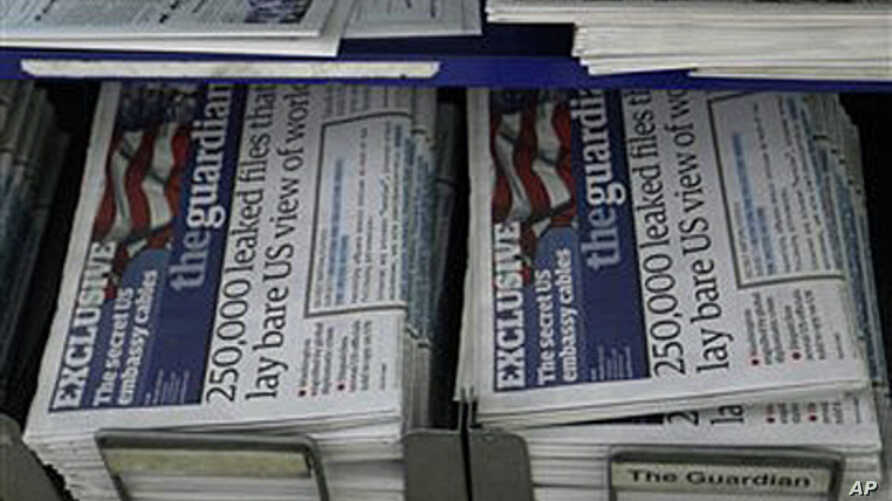 A news stand displaying newspapers, some carrying the story on WikiLeaks' release of classified U.S. State Department documents, at a newsagent in central London, Nov. 29, 2010.