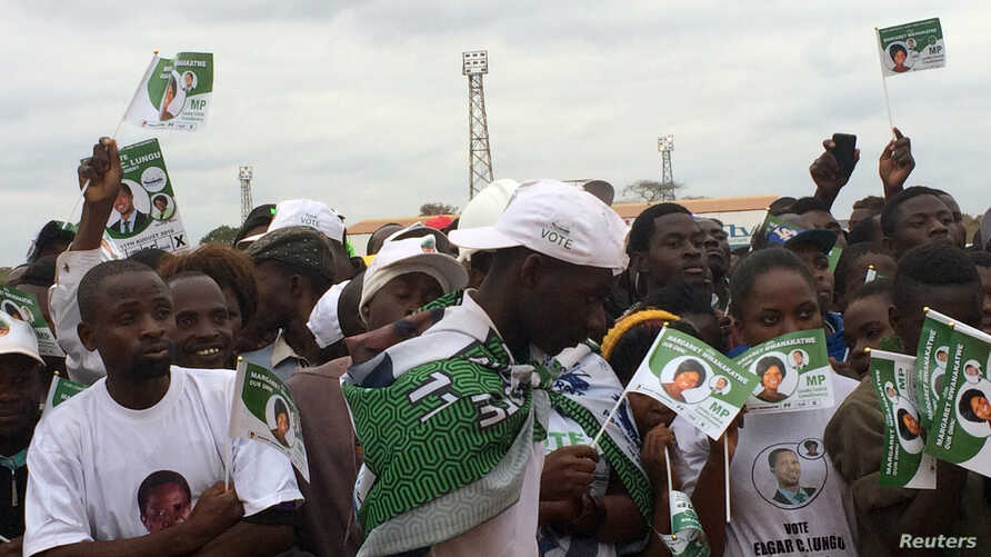 Supporters of Edgar Lungu, leader of the Patriotic Front party (PF), gather during a rally ahead of Thursday's presidential elections in the capital, Lusaka, Zambia, Aug. 10, 2016.