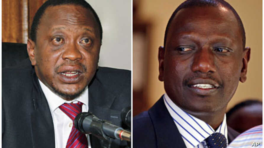 A combination photograph shows Kenya's finance minister Uhuru Kenyatta (L) in his office in the capital Nairobi in a December 15, 2010 file photo, and former Kenyan cabinet minister William Ruto standing inside his house after hearing the news from t