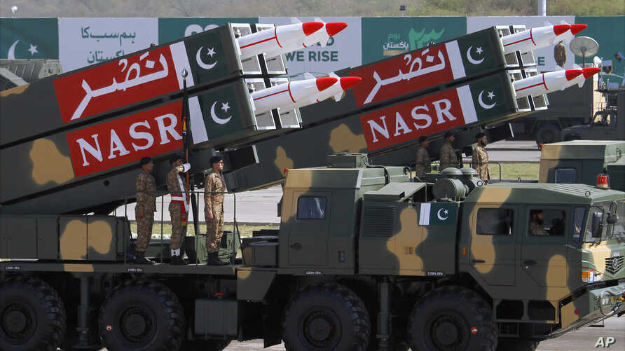 FILE - Pakistani-made NASR missiles are on display during a military parade to mark Pakistan's Republic Day, in Islamabad, Pakistan, March 23, 2017.