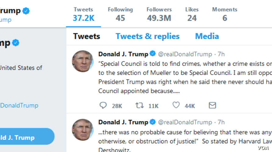 A screenshot of President Donald Trump's Twitter page.