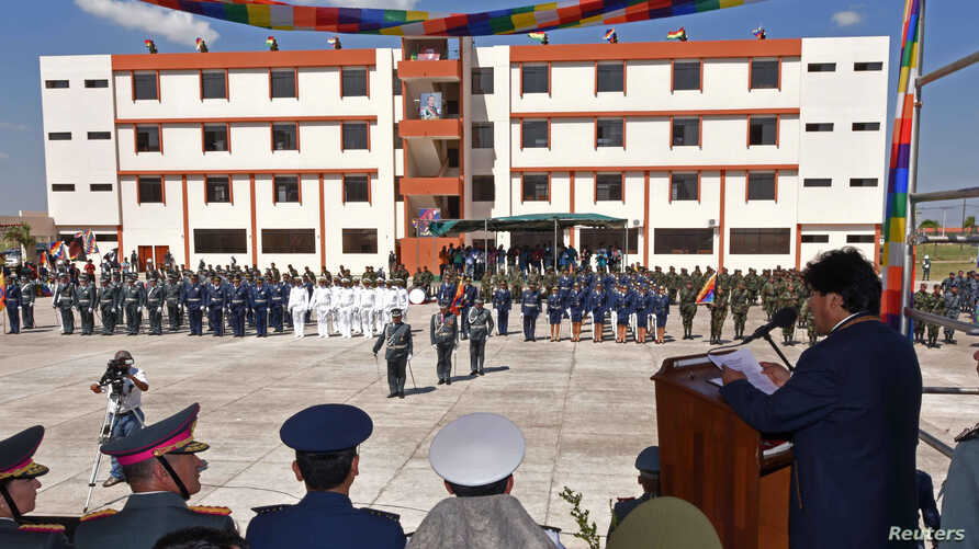 "Bolivia's President Evo Morales (R) speaks during the inauguration of the military school which Bolivia's government said would teach an ""anti-imperialist"" doctrine in Warnes near Santa Cruz, Bolivia, Aug. 17, 2016. (Courtesy of Bolivian Presidency/H"