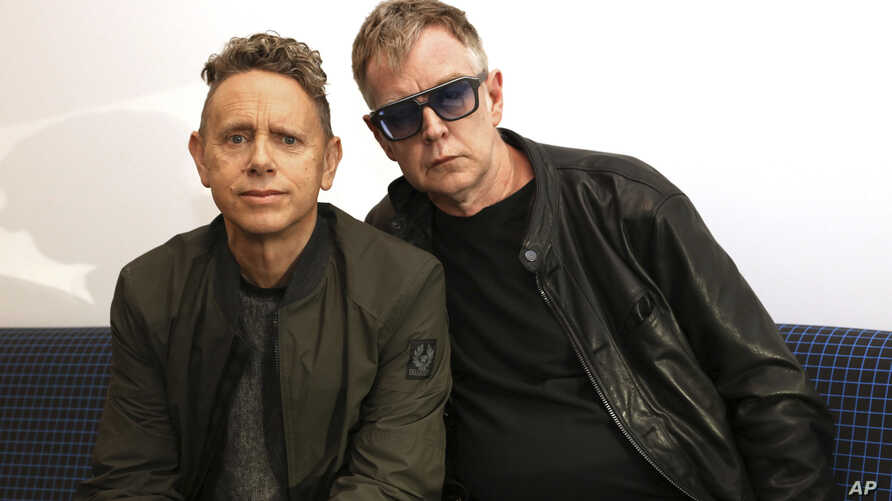 """Martin Gore, left, and Andy Fletcher of Depeche Mode pose for a photo to promote their new album, """"Spirit,"""" March 8, 2017."""