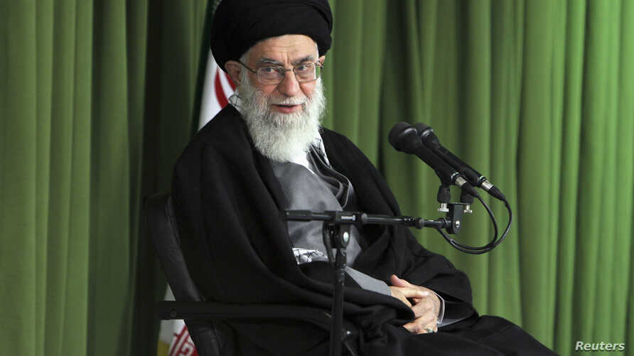 Iran's Supreme Leader Ayatollah Ali Khamenei attends a meeting with Iranian nuclear scientists and managers in Tehran, Feb. 22, 2012.