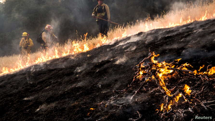 Firefighters work to dig a fire line on the Rocky Fire in Lake County, California, July 30, 2015.