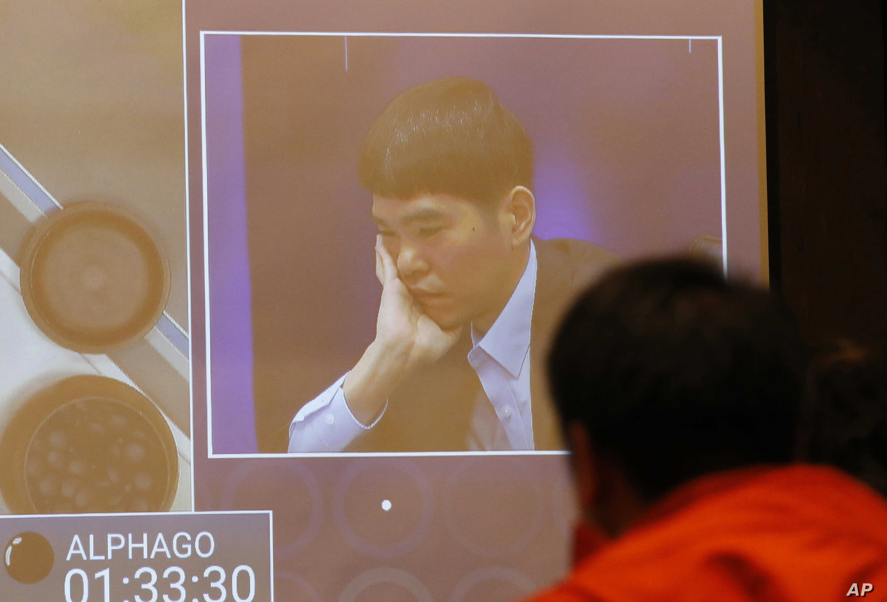 South Korean professional Go player Lee Sedol appears on the screen during the second match of the Google DeepMind Challenge Match against Google's artificial intelligence program, AlphaGo at the media room in Seoul, South Korea, March 10, 2016.