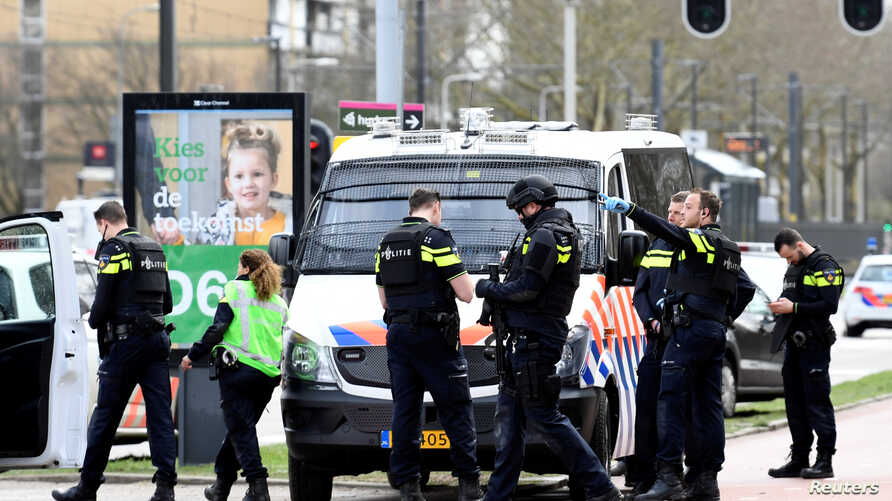 Police secure the site of a shooting in Utrecht, Netherlands, March 18, 2019.