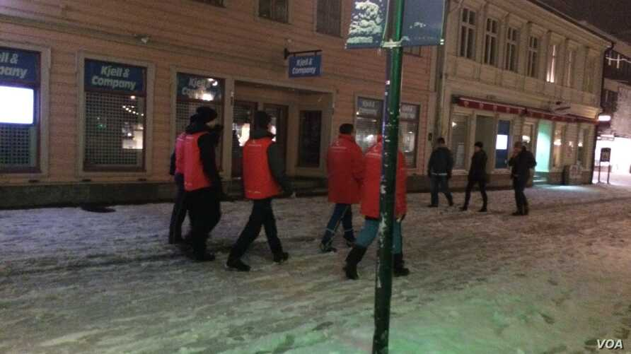 Called 'night walkers' in Swedish, civilian security group