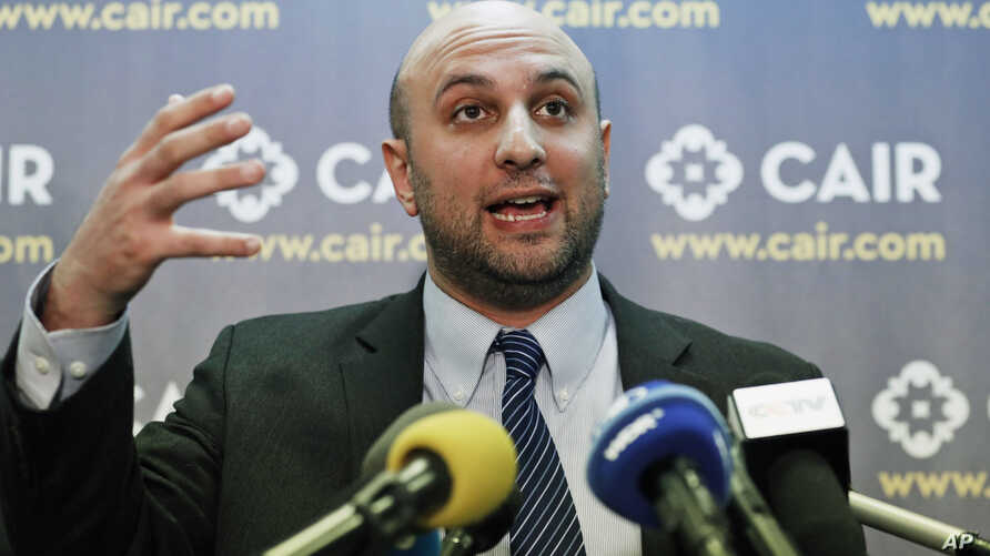 FILE - Attorney Gadeir Abbas speaks during a news conference at the Council on American-Islamic Relations (CAIR) in Washington, Jan. 30, 2017.