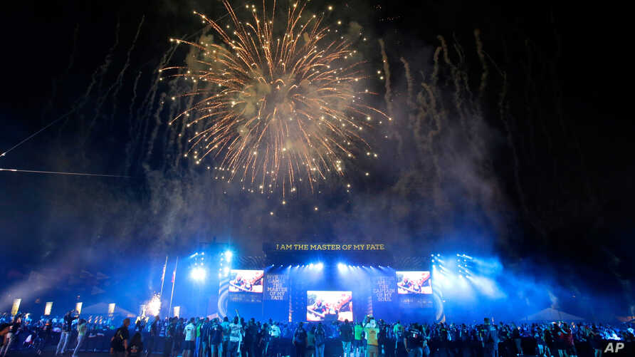 Fireworks explode over the stadium during the closing ceremony at the Invictus Games, May 12, 2016, in Kissimmee, Florida.