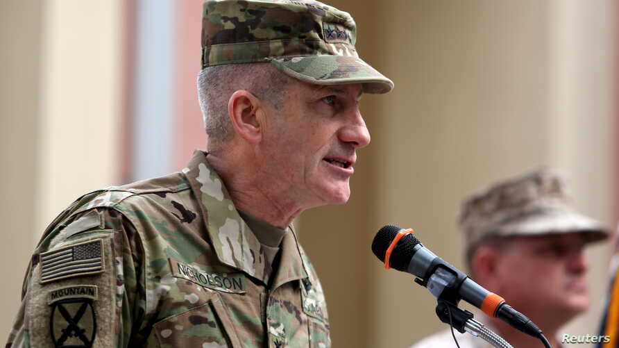 U.S. Army General John Nicholson speaks at a ceremony in which he takes command of NATO and U.S. forces, in Kabul, Afghanistan, March 2, 2016.