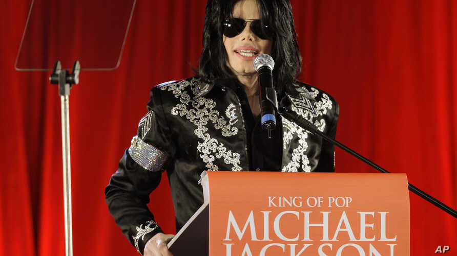 FILE - In this March 5, 2009 file photo, US singer Michael Jackson announces that he is set to play ten live concerts at the London O2 Arena in July, which he announced at a press conference at the London O2 Arena. Jackson and Sony Corp. announced Mo