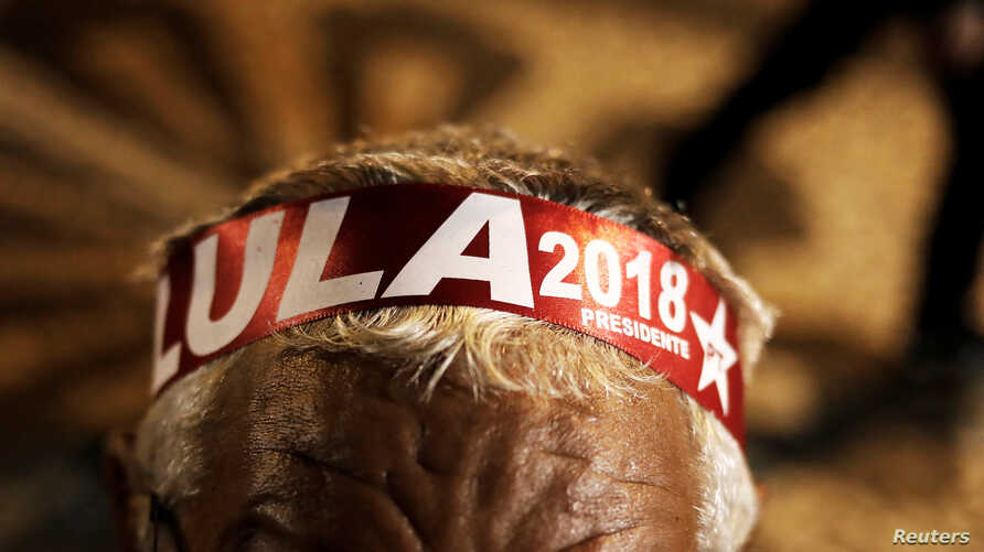 A supporter wears a headband with Lula's name, during the testimony of former Brazilian President Luiz Inacio Lula da Silva in Curitiba, Brazil, May 10, 2017.