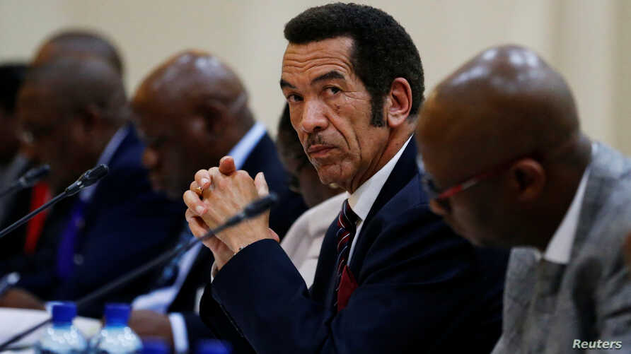 FILE - Botswana President Ian Khama looks on during the Botswana-South Africa Bi-National Commission (BNC) in Pretoria, South Africa, Nov. 11, 2016.