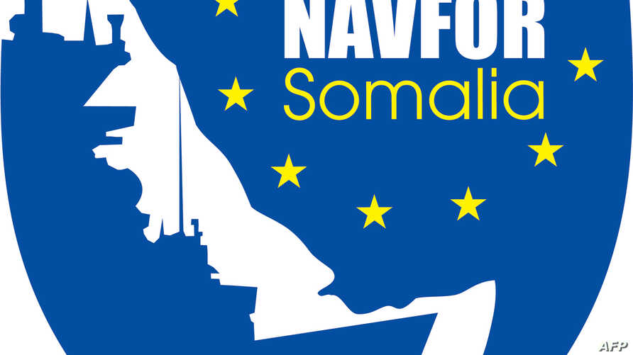 A picture released by the EU NAVFOR shows the EU's naval mission logo.