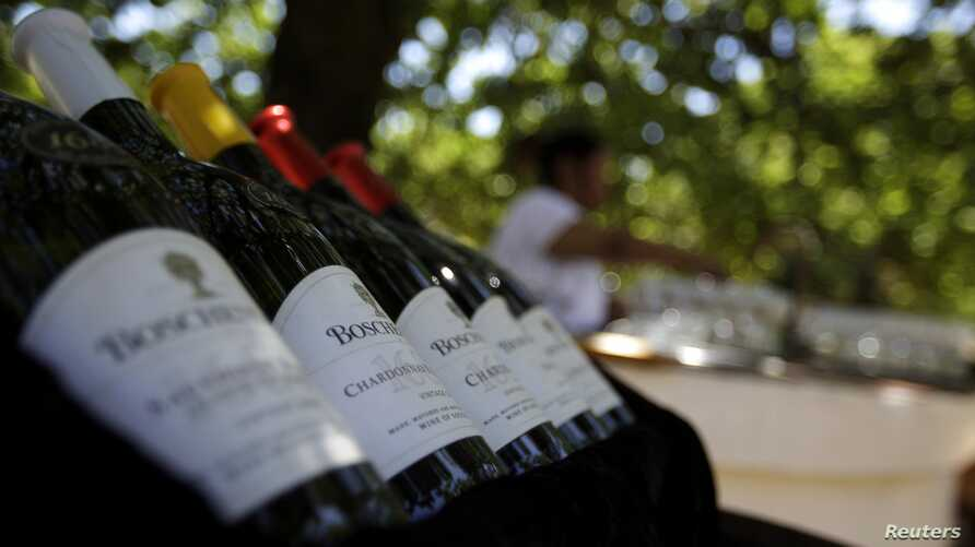 Bottles on display for a wine tasting at the Boschendal winery in Stellenbosch, about 80km southwest of Cape Town, November 24, 2009.