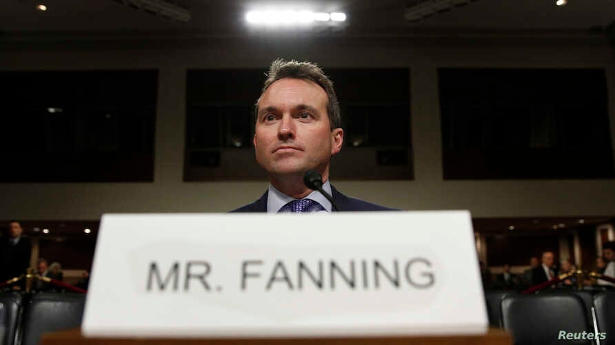 FILE - Eric Fanning takes his seat to testify before a Senate Armed Services Committee confirmation hearing on his nomination to be secretary of the Army on Capitol Hill in Washington, Jan. 21, 2016.