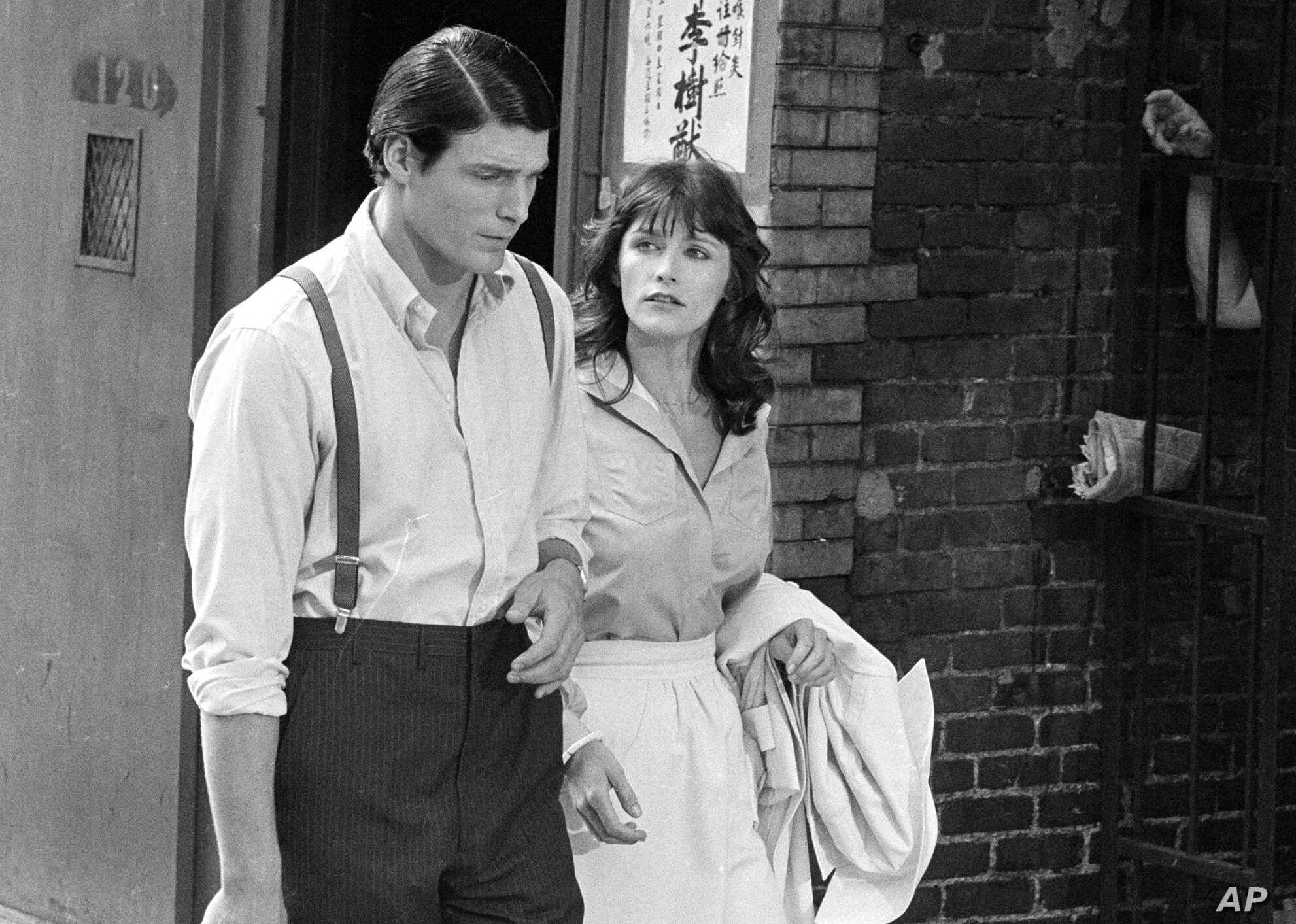 "FILE - Christopher Reeve (L) and Margot Kidder appear during the filming of ""Superman"" in New York's Lower East Side, July 8, 1977."
