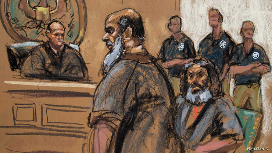 FILE - Terror suspects Khalid al-Fawwaz (2nd L) and Adel Abdul Bary (3rd L) are seen in this courtroom sketch during a court appearance in Manhattan Federal Court in New York.