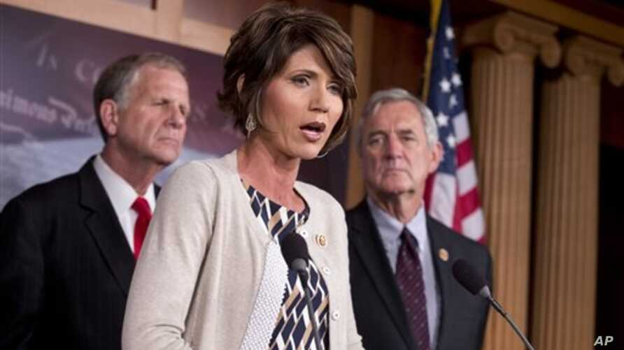 From left, Rep. Ted Poe, R-Texas, Rep. Kristi Noem, R-S.D., Rep. Rick Nolan, D-Minn., announce that bipartisan End Sex Trafficking Act of 2013, Capitol Hill, Washington, Aug. 1, 2013.