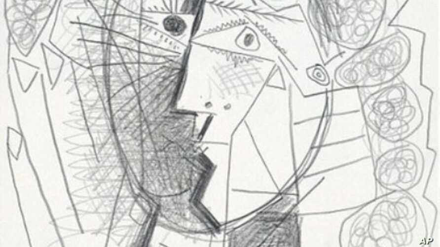 Photo of stolen Picasso sketch 'Tete de Femme'