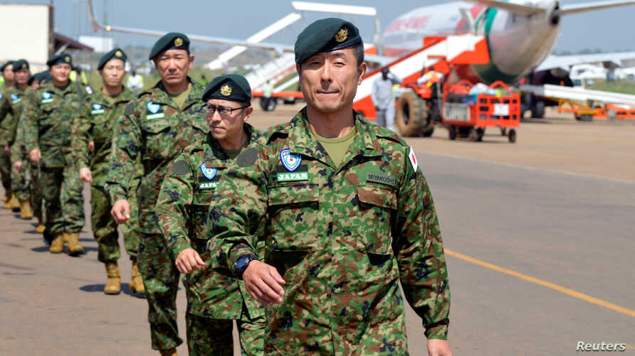 Japanese peacekeepers arrive at the Juba airport to participate in the United Nations Mission in South Sudan (UNMISS) in South Sudan's capital Juba, Nov. 21, 2016.