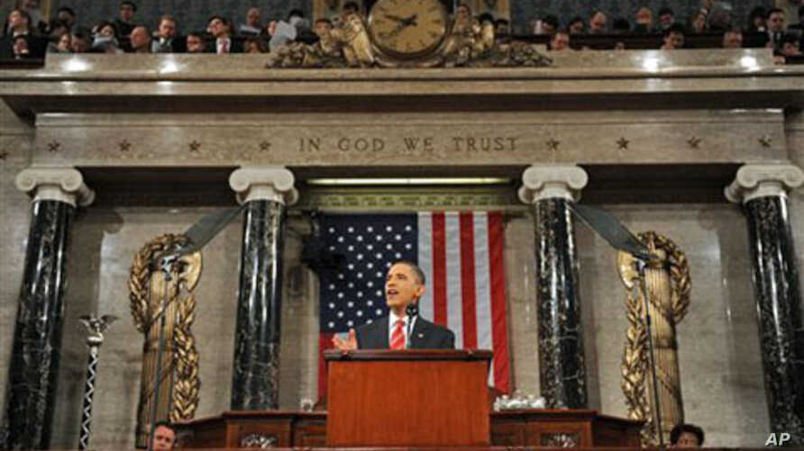 President Barack Obama during last year's State of the Union address before a joint session of both houses of Congress, 27 Jan 2010