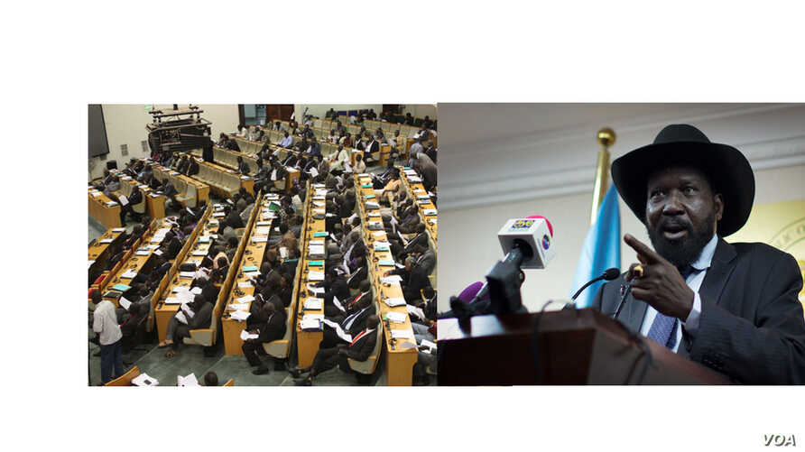 South Sudan is proposing extending the terms of the National Assembly (L) and President Salva Kiir.