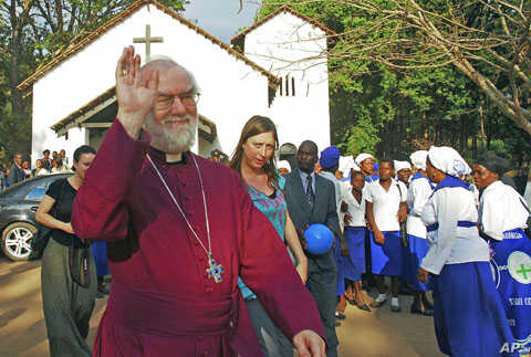 Archbishop of Canterbury arrives at the Anglican church in Thyolo district, Malawi, Oct. 7, 2011.