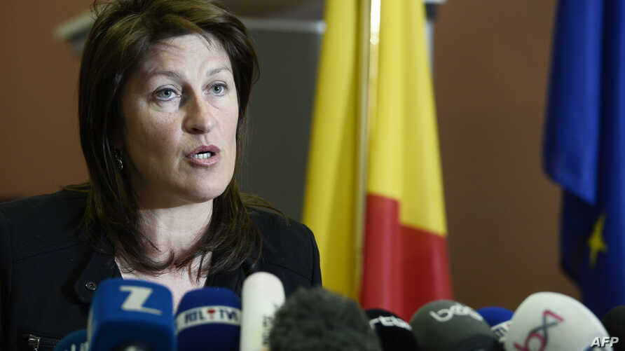 Belgian Minister of Mobility Jacqueline Galant speaks during a press conference, in Brussels on April 15, 2016.