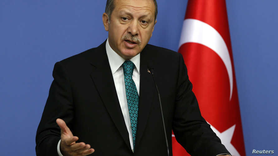 FILE - Turkey's Prime Minister Tayyip Erdogan addresses the media in Ankara, Nov. 13, 2013.