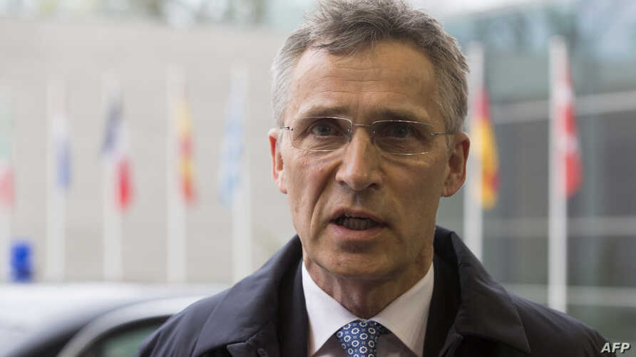 NATO Secretary-General Jens Stoltenberg answers journalists prior to an EU Defence Council meeting in Luxembourg on April 19, 2016.