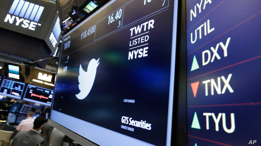 FILE - The Twitter symbol appears above a trading post on the floor of the New York Stock Exchange, July 27, 2016.  Twitter's stock soared following a report Friday that it may be moving closer to selling the business.