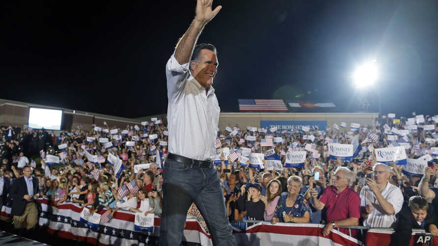 Republican presidential candidate and former Massachusetts Gov. Mitt Romney campaigns at D'Evelyn High School in Denver, September 23, 2012.