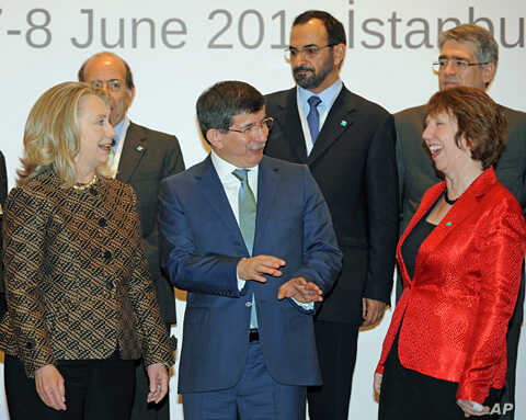 From left: US Secretary of State Hillary Rodham Clinton, Turkish Foreign Minister Ahmet Davutoglu and EU Foreign Policy Chief Catherine Ashton at the ministerial meeting of the Global Counterterrorism Forum in Istanbul, June 7, 2012 (AP).