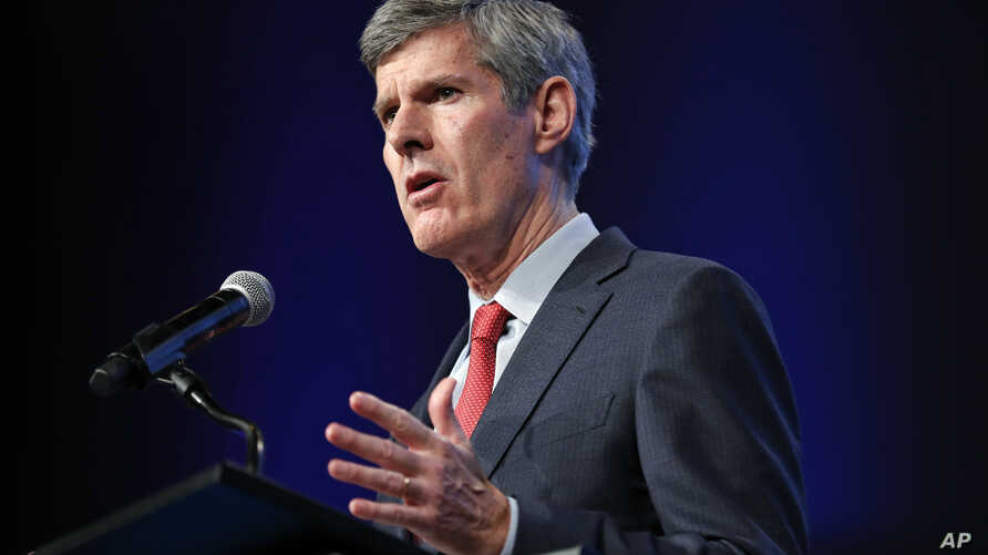 FILE - Iowa Democratic gubernatorial candidate Fred Hubbell speaks during the Iowa Democratic Party's annual Fall Gala in Des Moines, Iowa, Oct. 6, 2018.