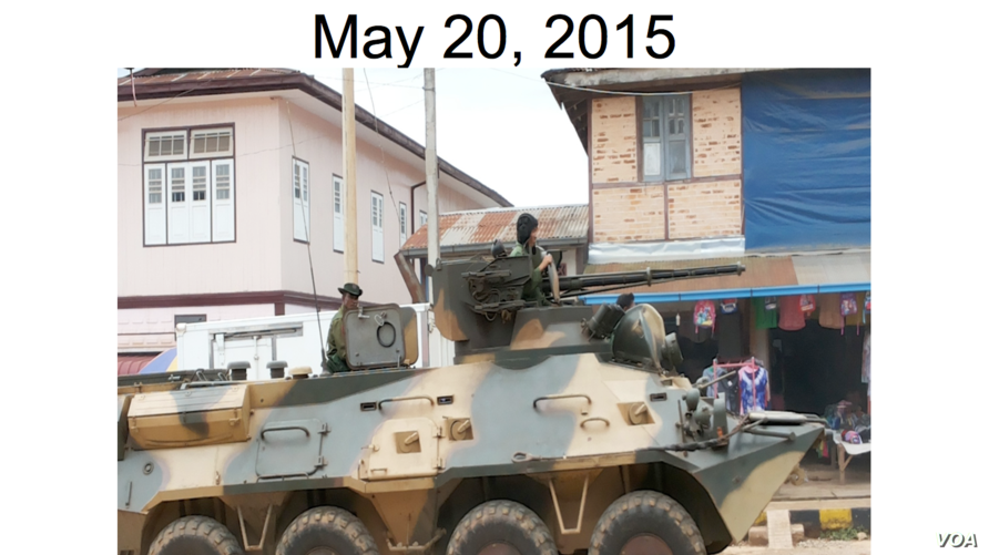 A Burma Army tank in Kun Hing, May 20, 2015.