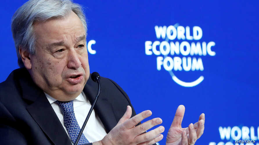 FILE - U.N. Secretary-General Antonio Guterres attends the World Economic Forum annual meeting in Davos, Switzerland, Jan. 24, 2019.
