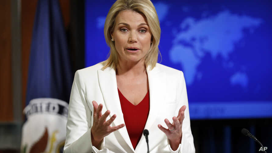 "State Department spokeswoman Heather Nauert, shown during a briefing in Washington on Aug. 9, 2017, reaffirmed the U.S. position on a snap Venezuela election saying, ""This vote would be neither free nor fair. It would only deepen, not help resolve, n"