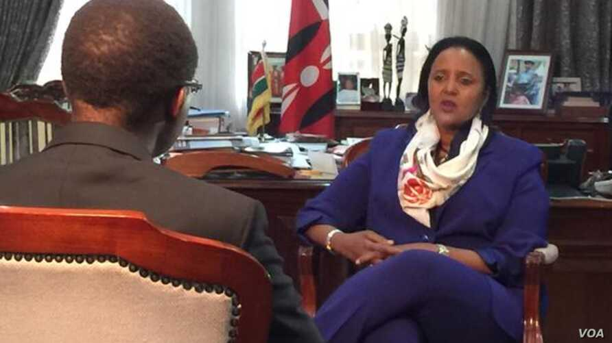 Kenyan Foreign Secretary Amina Mohamed talks to VOA's Vincent Makori about U.S. President Barack Obama's upcoming visit in Nairobi, Kenya, July 23, 2015. (Photo: Arash Arabasadi / VOA)