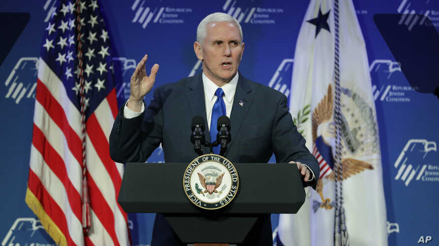 Vice President Mike Pence speaks at the Republican Jewish Coalition annual leadership meeting, Feb. 24, 2017, in Las Vegas.