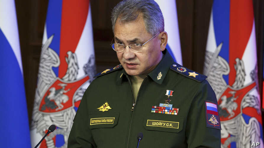 FILE - In this Thursday, Dec. 22, 2016 file photo, Russian Defence Minister Sergei Shougu speaks during a meeting with senior military officials in Moscow, Russia. Sergei Shoigu told lawmakers Wednesday, Feb. 22, 2017, that the sweeping military mode