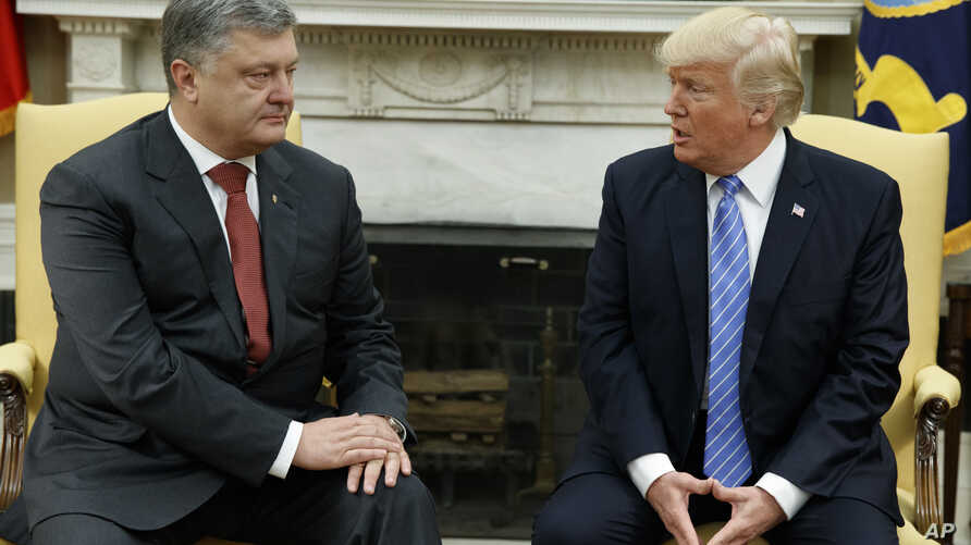President Donald Trump speaks during a meeting with Ukrainian President Petro Poroshenko in the Oval Office of the White House, June 20, 2017, in Washington.