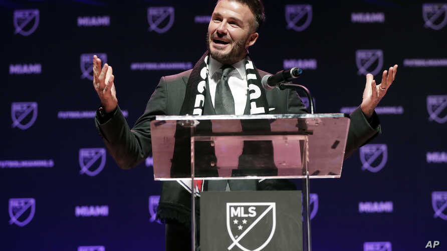David Beckham speaks at an event where it was announced that Major League Soccer is bringing an expansion team to Miami, Jan. 29, 2018, in Miami. The team is backed by Beckham and a team of investors.