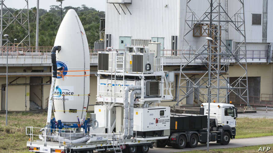 FILE - The European Space Agency's (ESA) Intermediate eXperimental Vehicle being transported ready for its launch atop a Vega rocket from Europe's Spaceport in French Guiana, Jan. 30, 2015, and re-entry mission on Feb. 11, 2015.