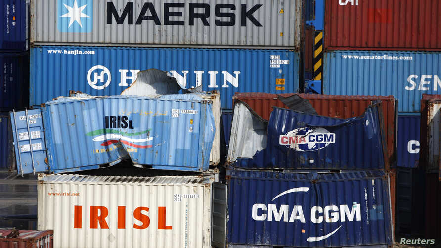 FILE - Empty and disused Islamic Republic of Iran Shipping Lines (IRISL Group) containers are seen at Malta Freeport in the Port of Marsaxlokk outside Valletta.