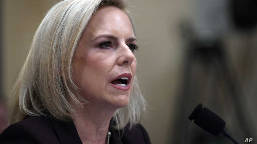 Homeland Security Secretary Kirstjen Nielsen testifies on Capitol Hill in Washington, Wednesday, March 6, 2019, before the House Homeland Security Committee.